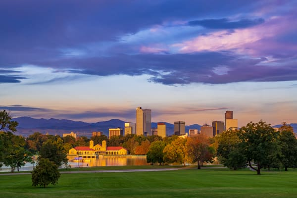 Autumn Photo of Denver Colorado Skyline with City Park Pavilion