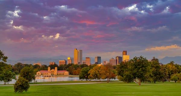 Twilight Photo of Denver Colorado Skyline & City Park Pavilion
