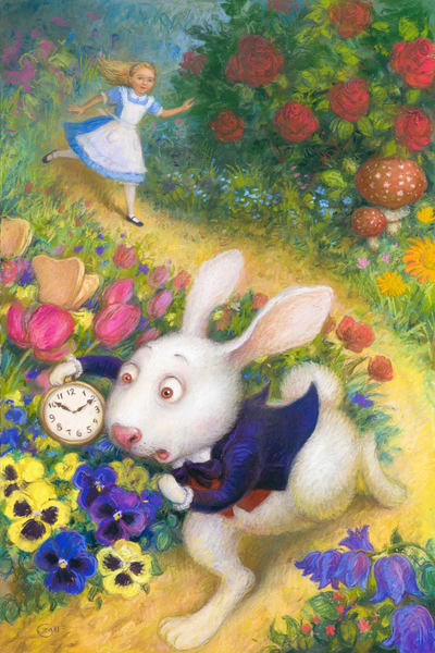 Alice in Wonderland, Art, Print, White Rabbit, Pastel