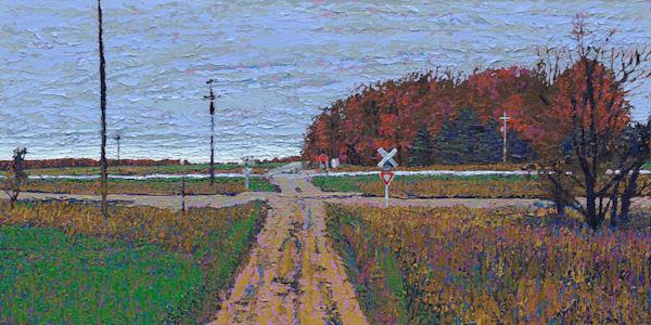 Crossing the Tracks     Original Oil Painting     Justin David Gustafson