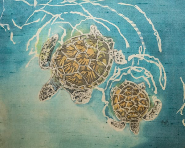 Turtle Mama and Child is a rozome (batik) painting on silk by artist Muffy Clark Gill