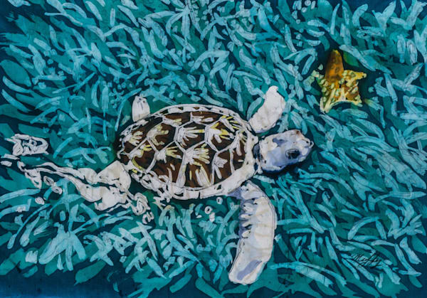 """Tortuga Blanca ""is a painting by artist Muffy Clark Gill .It is created using the rozome (batik) process on silk and measures16 x 20 in."