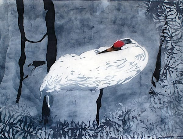 Whooping Crane a  rozome (batik) painting on silk by artist Muffy Clark Gill