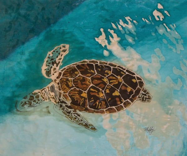 Tortuga VII is a batik painting of a Hawksbill turtle by Muffy Clark Gill
