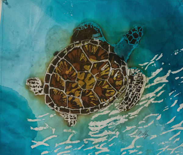 Tortuga VI by artist Muffy Clark Gill is a batik painting on silk of a Hawksbill turtle