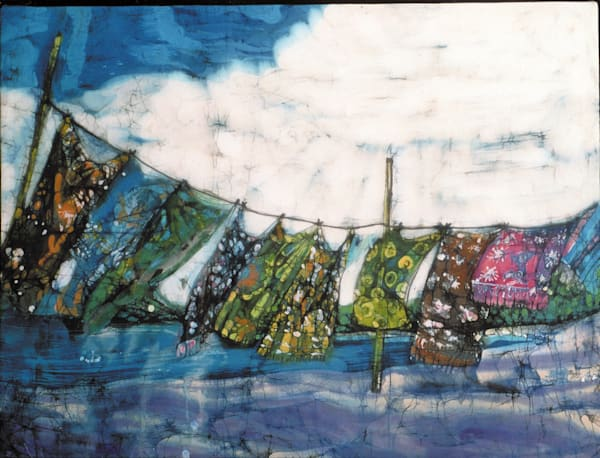 """Clotheslined"" is a  30 inch x 40 inch batik painting on rayon by artist Muffy Clark Gill featuring batik sarongs on a clothesline"
