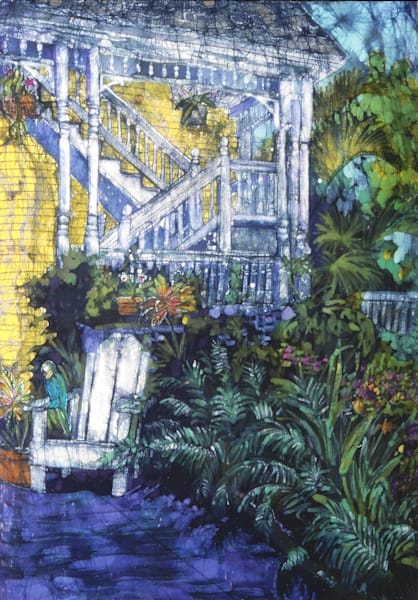Judy's Garden is a batik painting on rayon from the Tropical Views series by artist Muffy Clark Gill