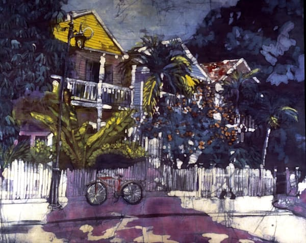 Whitehead Street is a batik painting of Whitehaead Street, Key West created by artist Muffy Clark Gill