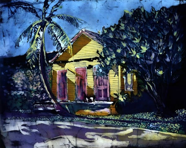 """The House That Once Was""is a batik painting featuring an old house in Key West by artist Muffy Clark Gill"
