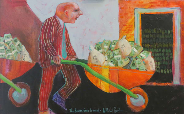 """""""Banker Goes To Work"""" Art 