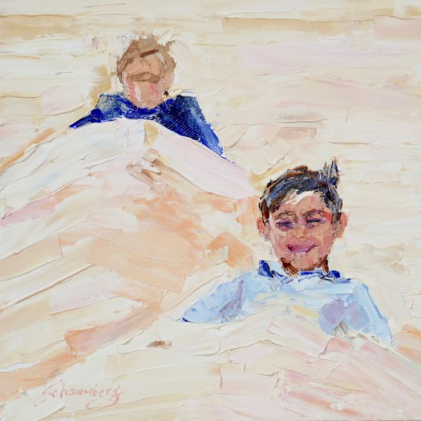 buried original small painting kids buried in sand