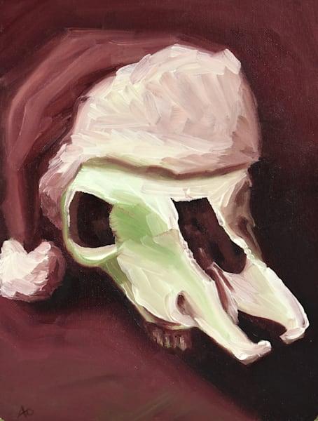 0042 Santa Cow Skull Art   Amy O'Hearn Art