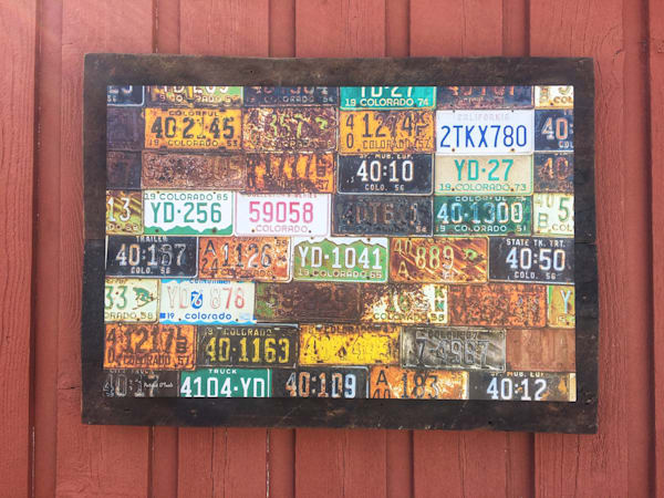 Vintage License Tags On Reclaimed Barn Woord  Photography Art | Patrick O'Toole Photography, LLC