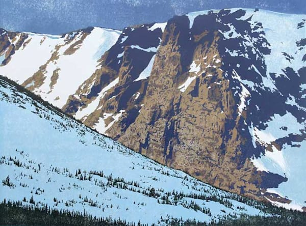 Triumphant, woodcut print of the Rocky Mountains by William H. Hays