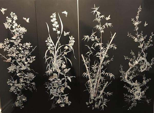 Mother Of Pearl Panel   Birds & Butterflies Art | artloversgallery