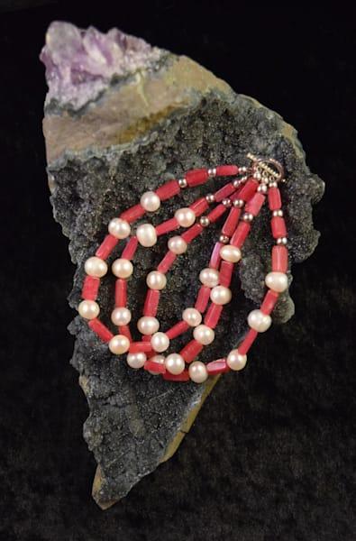 Vintage Ruby/Freshwater Pearl Bracelet Art   artloversgallery