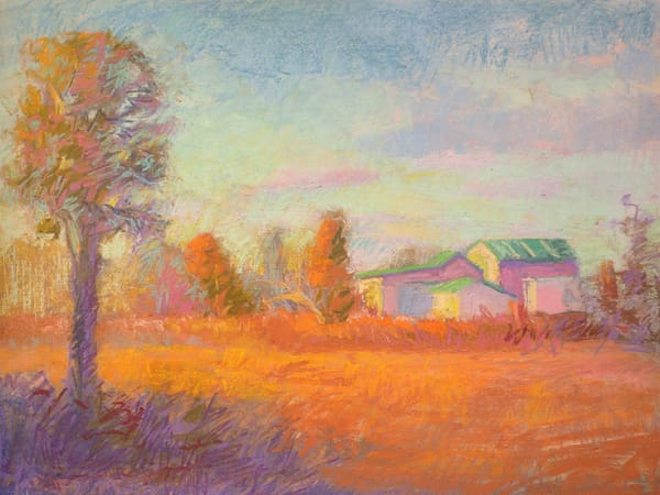 Farm Landscape Autumn Painting, Limited Edition by Dorothy Fagan