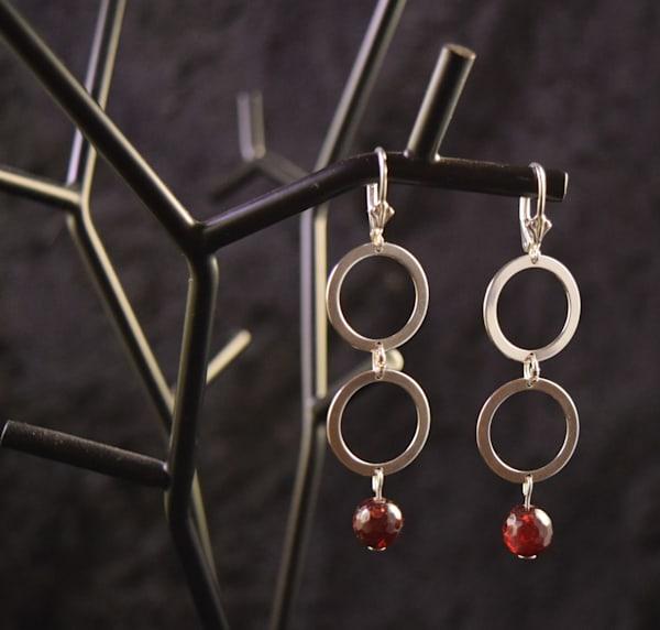 Double Round Dangling Earrings W/Faceted Garnet Art | artloversgallery