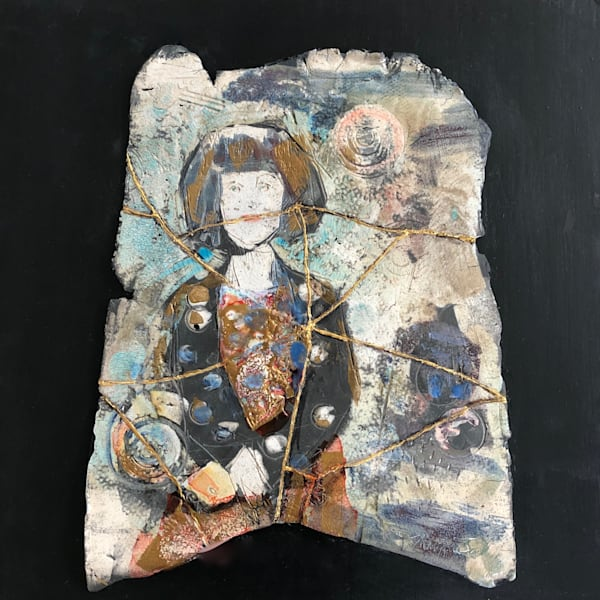 "Handbuilt raku expressionist ceramic slab figures from my Heaven's Daughters series ""Love Conquers 32"" by Monique Sarkessian."