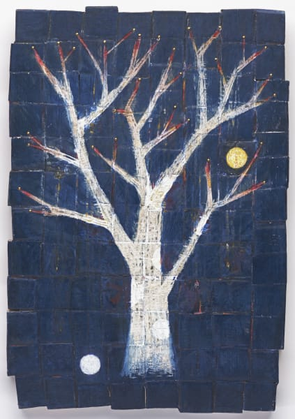 white tree plays with sun and moon