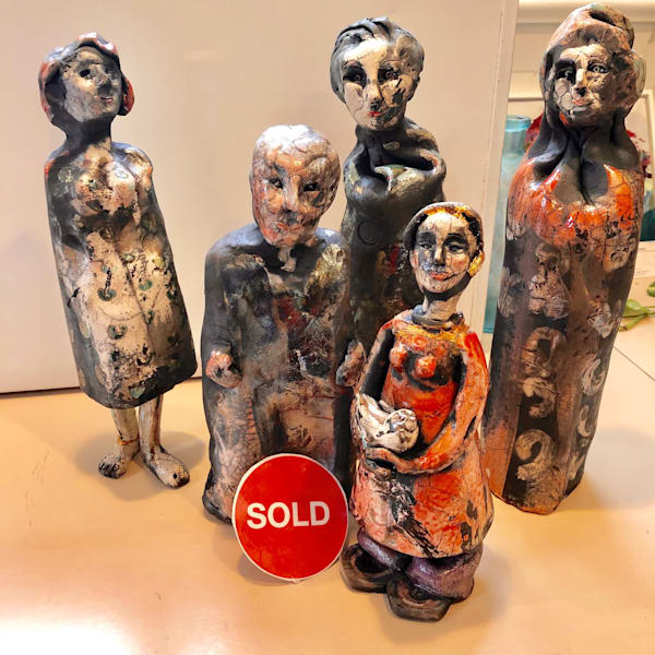 "New prophetic art sculpture ceramics series by Monique Sarkessian ""Peace Bringers Family of 5"" Raku fired clay set of 5 figures."