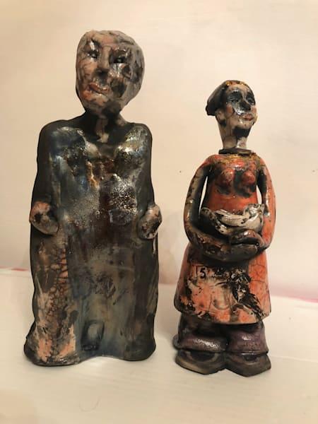 "New ceramics series ""Peace Bringers Pair"" by Monique Sarkessian Raku fired clay, Pair of figures each 10""x8'x5""."