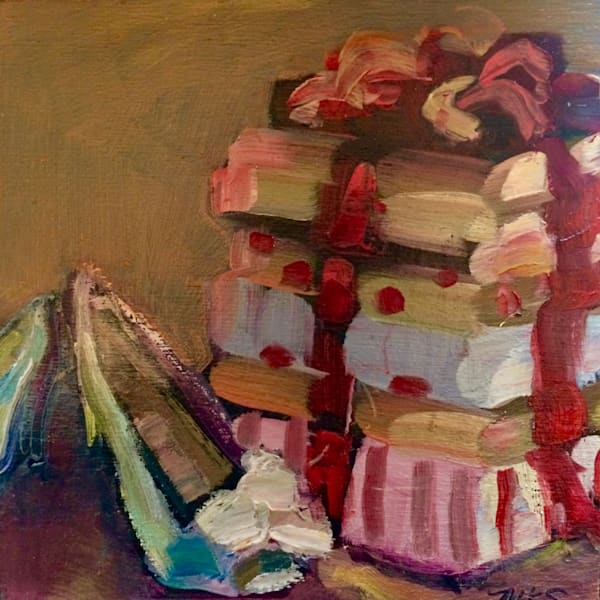 """Holiday Heels-Marmi Gifts 2 "". Painted still life with silver holiday heels and beautiful holiday purse shaped like a stack of gifts..Sure to captivate."