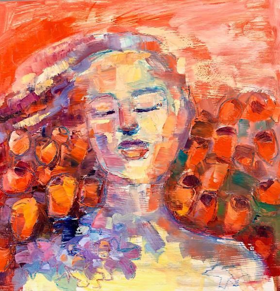 "Prophetic portrait series Heaven's Daughters ""Worship"", oil on wood, 12""x12"" by Monique Sarkessian."