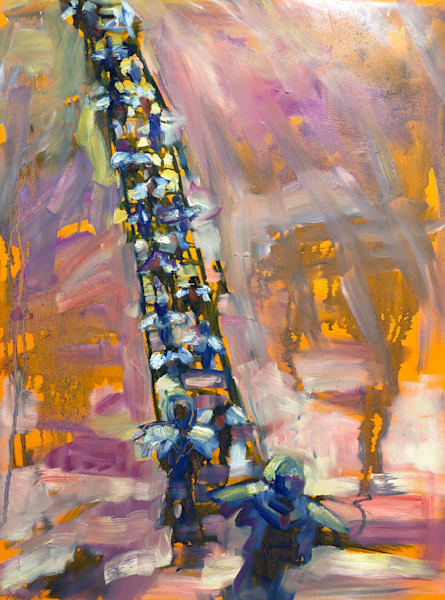 """""""Ascending and Descending"""" prophetic art oil painting on wood of the angels in Jacob's dream/ Jacob's ladder by Monique Sarkessian."""