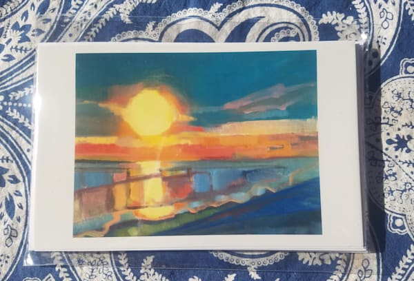 "Set Of 4 Notecards    ""End Of A Wonderful Day"" 