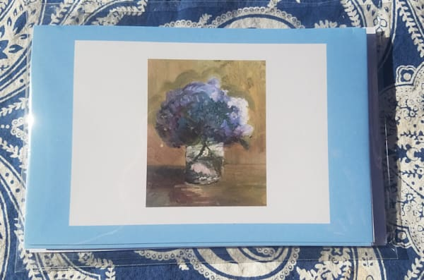 "Set Of 4 Notecards   ""Cheryl's Hydrangeas"" 