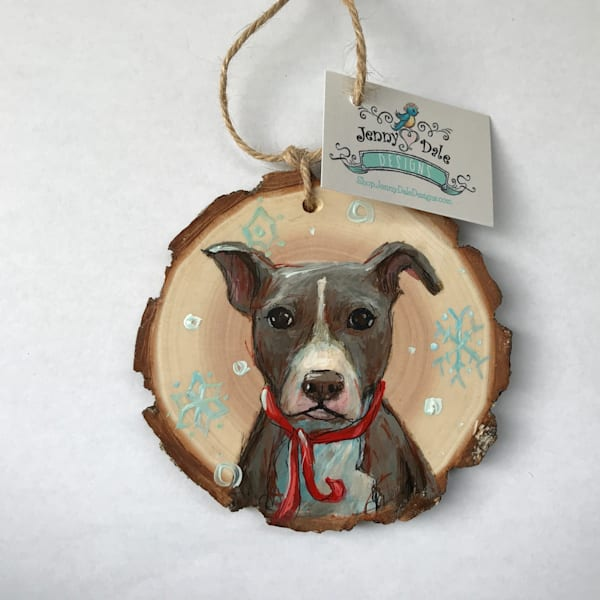 Pet Portrait Wood Slice Ornament | Jenny Dale Designs