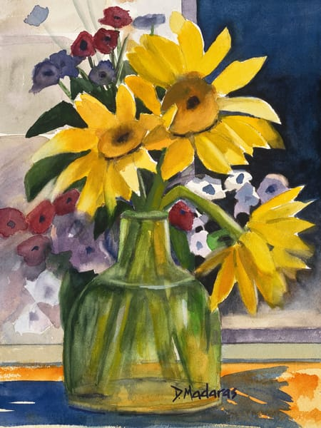 Sunflowers in Green Glass Watercolor by Diana Madaras