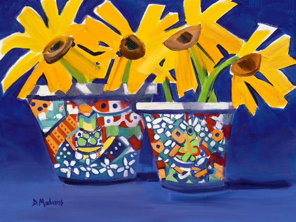 Happy Sunflowers Painting by Diana Madaras