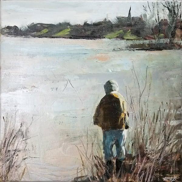 Walleye Run Maumee River Fisherman Original Painting