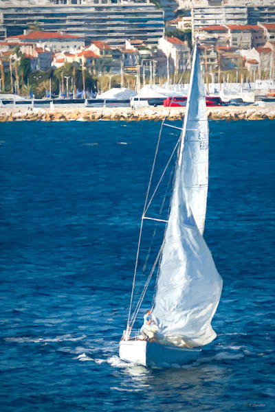 White Sailboat At Cannes Photography Art | TONYGRIDERIMAGES.COM
