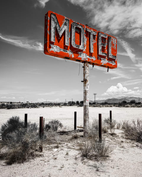 Motel sign on historic Route 66 Arizona