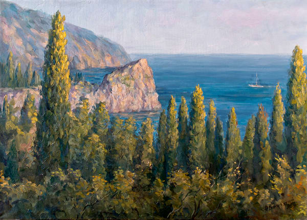 View of the Sea with Cypresses