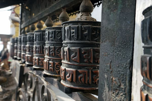 Buddhist prayer wheel in Swayambhunath Stupa, Kathmandu, Nepal