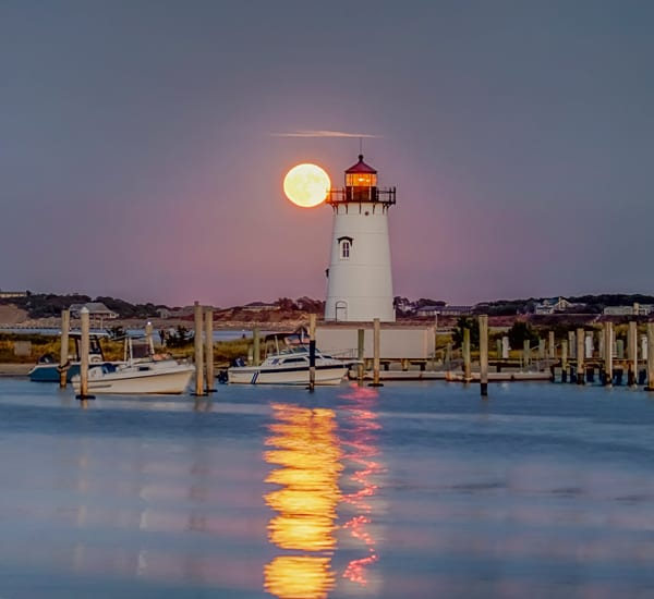 Edgartown Light Moon Reflection
