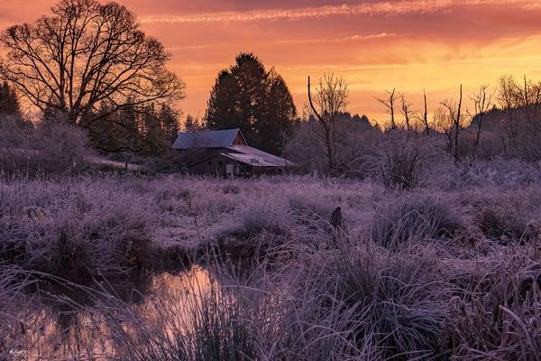 South Salem Oregon Barn Sunrise