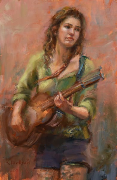 Strumming a Guitar Oil Painting