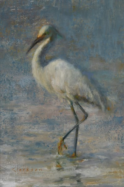 Snowy Egret Oil Painting