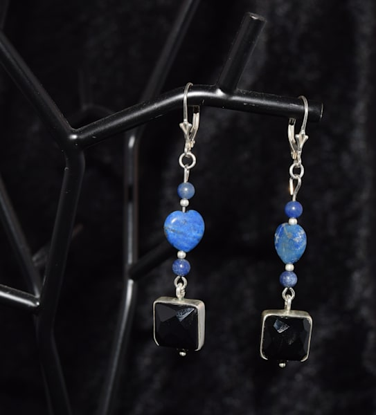 Square Black Onyx Lapis Lazuli Earrings Art | artloversgallery