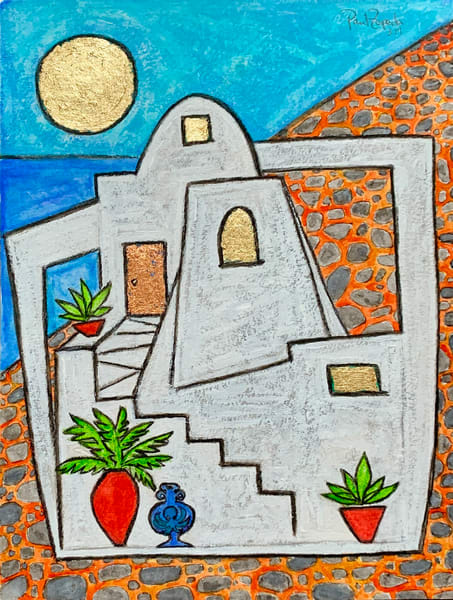 Santorini Octopus House Original Painting by Paul Zepeda - Wet Paint NYC Gallery - Fine Art Prints - Original Art