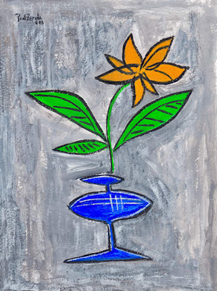 The Yellow Flower - Original Art by Paul Zepeda - Wet Paint NYC - Fine Art Prints - Affordable Art