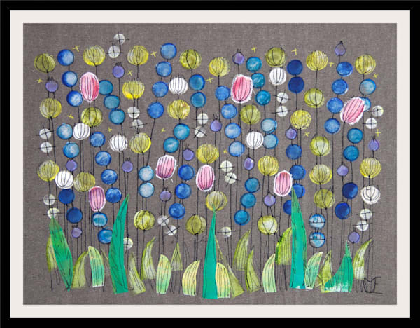 SOLD - Clover field - collage on fabric