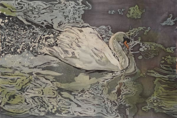 silver swan rozome on silk