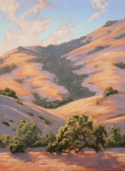 Golden Hills and Oak Tree oil painting