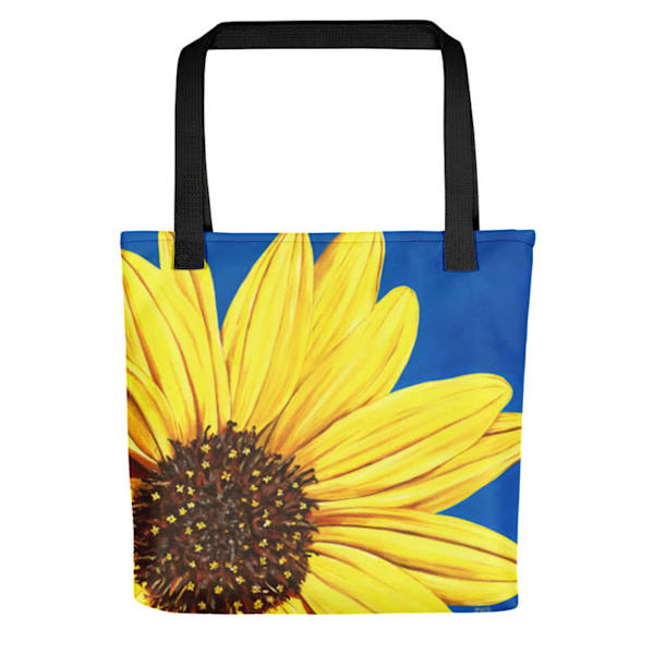 """Peeking Sunflower"" acrylic painting by Mare's Art printed on a 15"" tote bag."